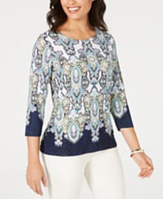 JM Collection 3/4-Sleeve Printed Jacquard Top, Cre