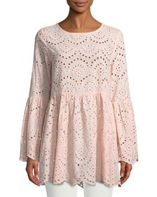 Lumie Bell-Sleeve Eyelet Embroidered Tunic