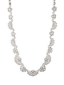 Marchesa Scalloped Filigree Crystal Necklace SILVE
