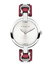 COACH Chrystie Stainless Steel and Leather-Strap W