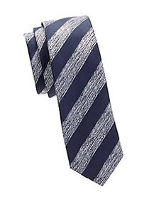 HUGO Striped Silk Tie DARK BLUE