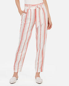 Express high waisted striped linen-blend sash wais