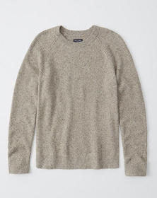 Textured Donegal Crew Sweater, OATMEAL