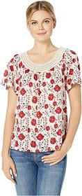 Lucky Brand Crochet Short Sleeve Top