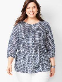 Talbots Plus Size - Floral Pintuck Popover