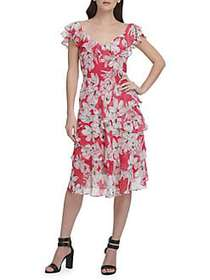 Donna Karan Floral A-Line Dress HOT PINK
