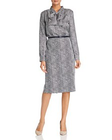 Max Mara - Ponera Printed Tie-Neck Midi Dress