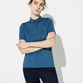 Lacoste Women's SPORT Snap Neck Striped Technical