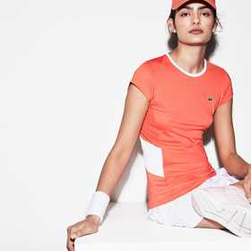 Lacoste Women's SPORT Stretch Tech Jersey Mesh T-s
