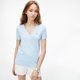 Lacoste Women's Slim Fit V-Neck Cotton Jersey T-sh