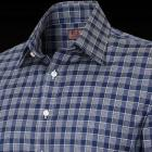 Navy and White Slim Fit Lido Check Men's Shirt - B