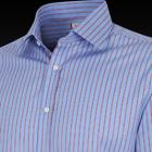 Blue and Red Odeion Stripe Men's Shirt - Button Cu