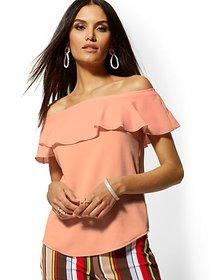 Chiffon-Overlay Off-The-Shoulder Top - New York &