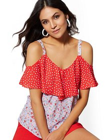 Mixed-Print Cold-Shoulder Blouse - New York & Comp