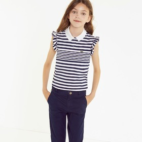 Lacoste Girls' Striped Cotton Polo