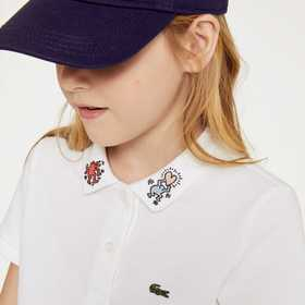 Lacoste Girls' Keith Haring Patterned Cotton Polo