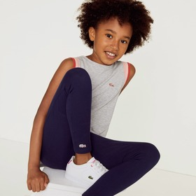Lacoste Girls' Stretch Cotton Leggings