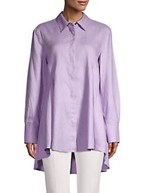 Donna Karan High-Low Button Up Shirt LILAC