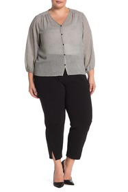 Vince Camuto Front Vent Pull-On Crepe Pants (Plus