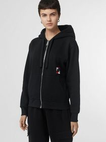 Burberry Chequer EKD Cotton Jersey Hooded Top in B