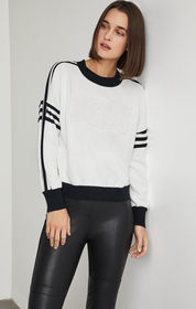 BCBG Striped Logo Sweater