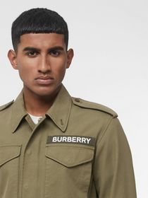 Burberry Logo Detail Cotton Field Jacket in Olive