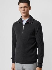 Burberry Rib Knit Cashmere Half-zip Sweater in Cha