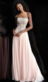 Jovani - Strapless Embroidered Straight Across A-l