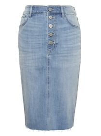Petite Button-Fly Denim Skirt