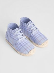 Burberry Check Espadrille Booties in Dusty Blue