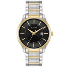 BULOVA Bulova Mens Black Dial Two-Tone Dress Watch
