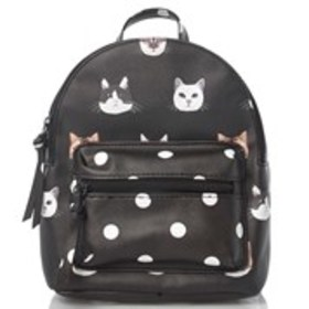 Cat and Polka Dot Print Faux Leather Backpack