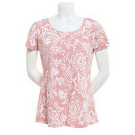 Notations Short Sleeve Floral Puff Print Blouse