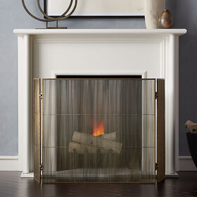 Crate Barrel Antiqued 3-Panel Brass Fireplace Scre