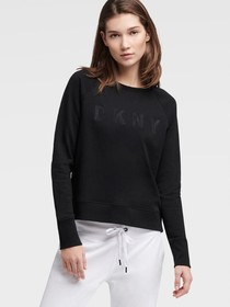 Donna Karan EMBROIDERED LOGO SWEATSHIRT