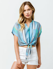 PATRONS OF PEACE Stripe Tie Front Womens Crop Top_