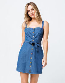 SKY AND SPARROW Button Front Denim Dress_
