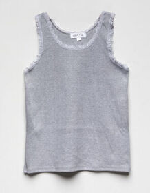 WHITE FAWN Solid Lace Girls Tank Top_