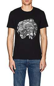 Just Cavalli Abstract-Leopard-Graphic Cotton T-Shi