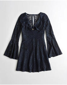 Hollister Tie-Front Bell-Sleeve Lace Dress, Navy