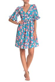 Betsey Johnson Floral Printed Bell Sleeve Dress