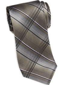 Awearness Kenneth Cole Taupe & Gray Plaid Narrow T