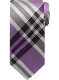 Calvin Klein Purple & Gray Plaid Narrow Tie