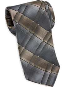 Awearness Kenneth Cole Taupe & Charcoal Plaid Narr