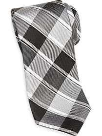 Esquire Black and Silver Gray Plaid Narrow Tie
