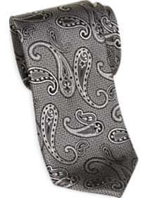 Joseph Abboud Black and Silver Gray Paisley Narrow