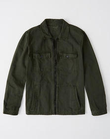 Zip-Front Shirt Jacket, OLIVE GREEN