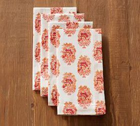 Pottery Barn Block Print Napkin - Red Floral