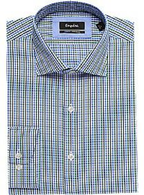 Esquire Blue & Green Check Slim Fit Dress Shirt