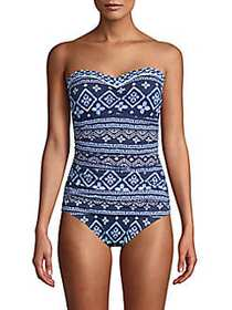 Tommy Bahama Printed 1-Piece Swimsuit NAVY